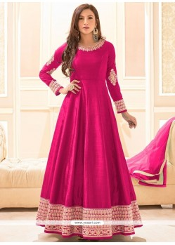 Sunshine Resham Work Hot Pink Art Silk Floor Length Anarkali Suit