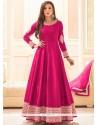 Sunshine Resham Work Hot Pink Art Silk Floor Length Anarkali Suit