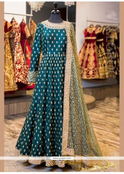 Orphic Banglori Silk Firozi Floor Length Anarkali Suit