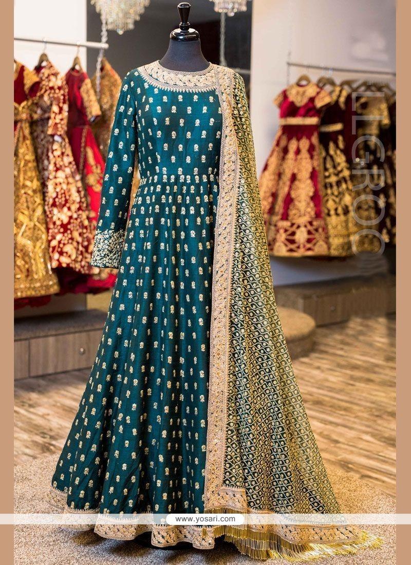 Orphic Banglori Silk Firozi Floor Length Anarkali Suit