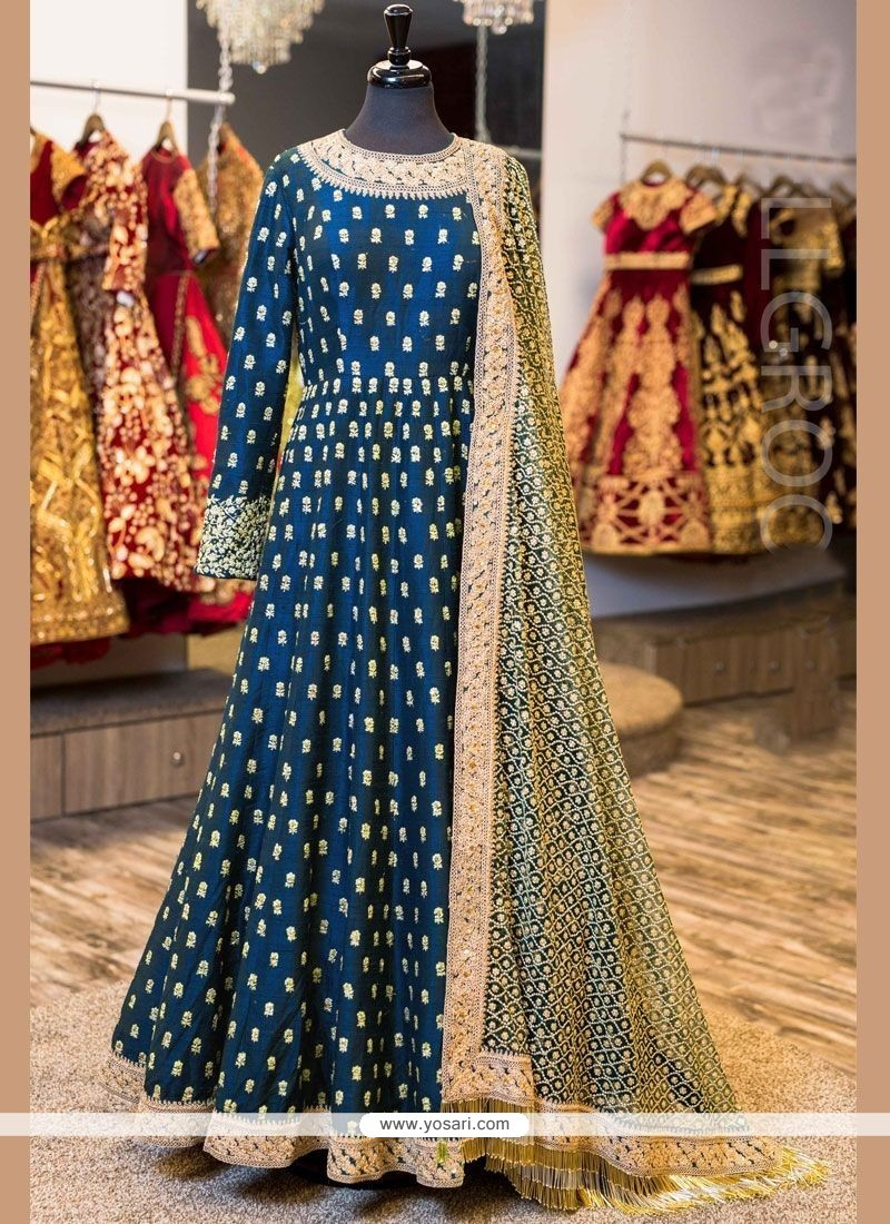 Vivacious Lace Work Blue Floor Length Anarkali Suit