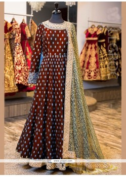 Splendid Embroidered Work Banglori Silk Floor Length Anarkali Suit