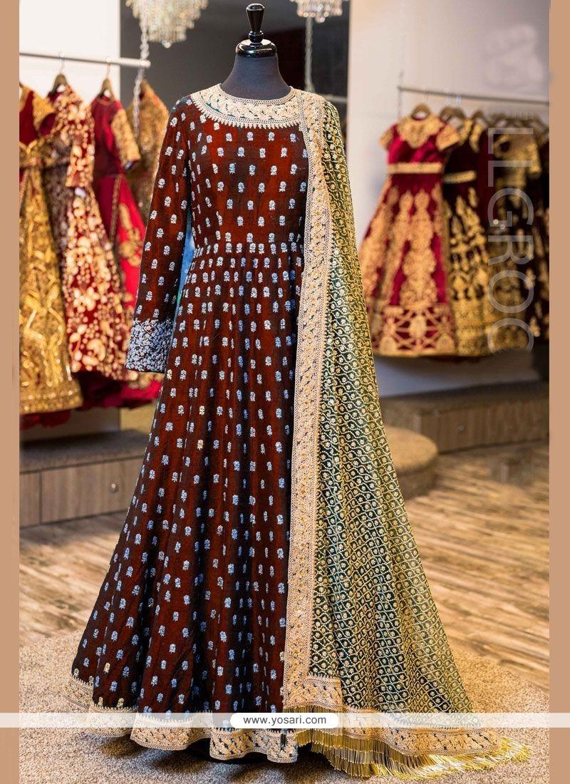 Splendid Embroidered Work Banglori Silk Floor Length Anarkali Suit