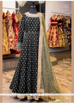 Aristocratic Lace Work Black Floor Length Anarkali Suit