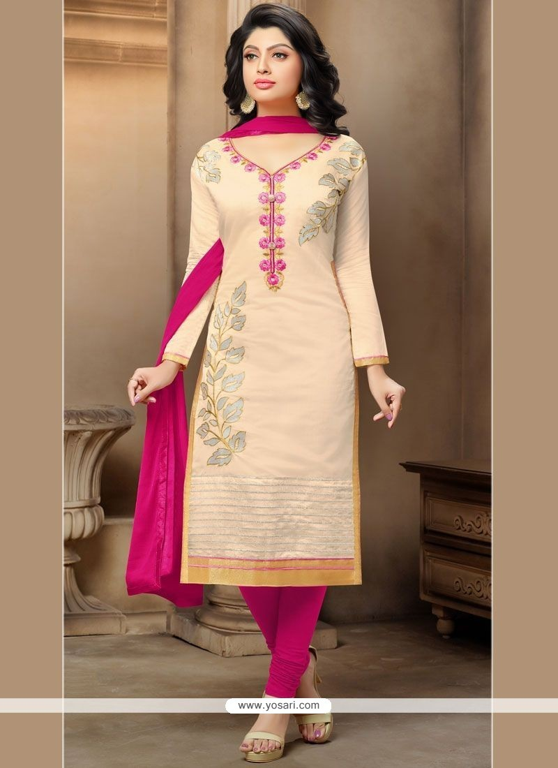 Pleasing Chanderi Embroidered Work Churidar Suit