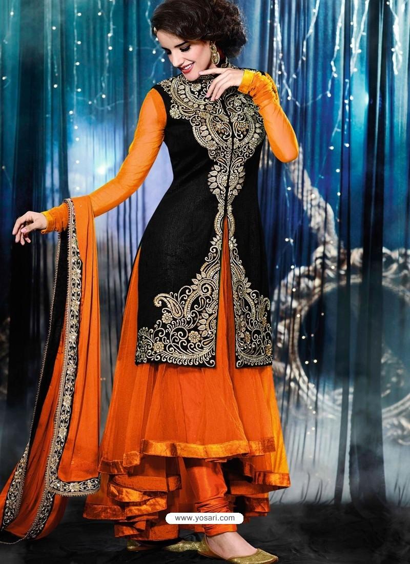 Orange And Black Velvet Anarkali Suit