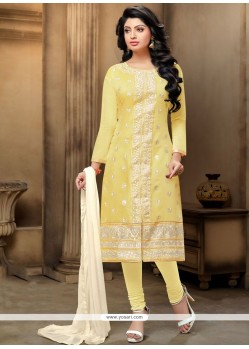 Precious Embroidered Work Yellow Chanderi Churidar Suit