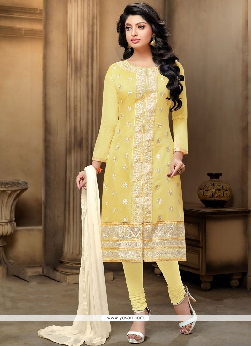 Precious Embroidered Work Yellow Chanderi Churidar Suit