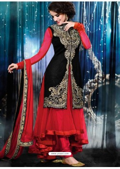 Red And Black Velvet Anarkali Suit