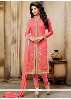 Arresting Rose Pink Embroidered Work Chanderi Churidar Suit
