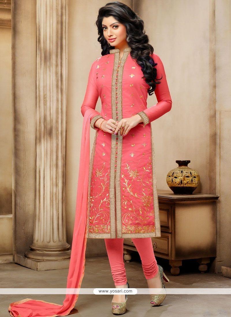 Arresting Rose Pink Embroidered Work Chanderi Churidar Suit