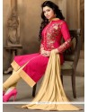 Amazing Hot Pink Embroidered Work Chanderi Churidar Suit