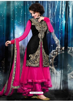 Pink And Black Velvet Anarkali Suit