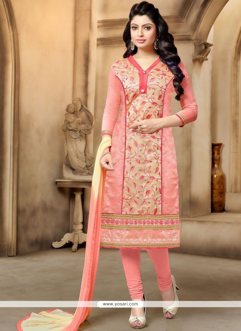 Arresting Peach Churidar Suit