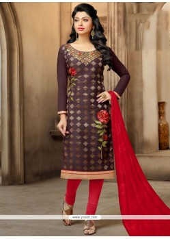 Outstanding Embroidered Work Chanderi Brown Churidar Suit