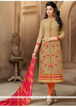 Festal Chanderi Beige Embroidered Work Churidar Suit