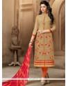 Festal Chanderi Beige Embroidered Work Churidar Suit