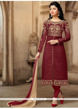 Hypnotizing Maroon Churidar Suit