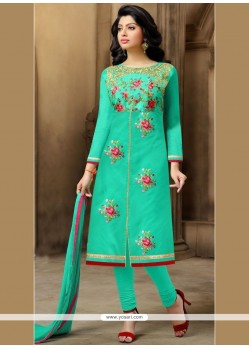 Glamorous Chanderi Sea Green Embroidered Work Churidar Suit