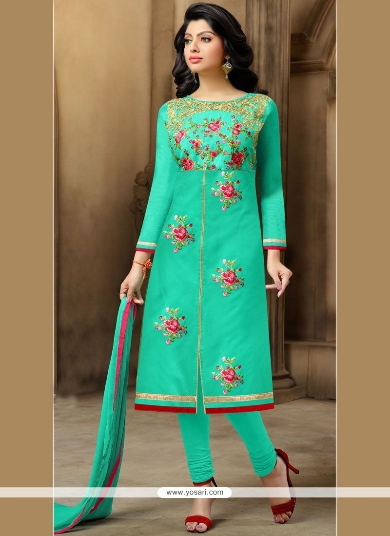 Glamorous Chanderi Sea Green Embroidered Work Churidar Suit