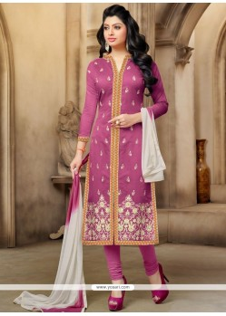 Modernistic Pink Chanderi Churidar Suit