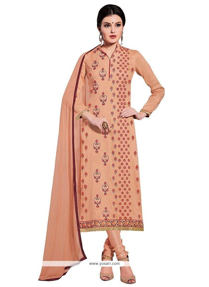Whimsical Cotton Peach Resham Work Churidar Designer Suit