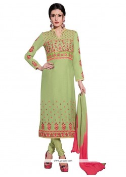 Conspicuous Cotton Green Churidar Designer Suit