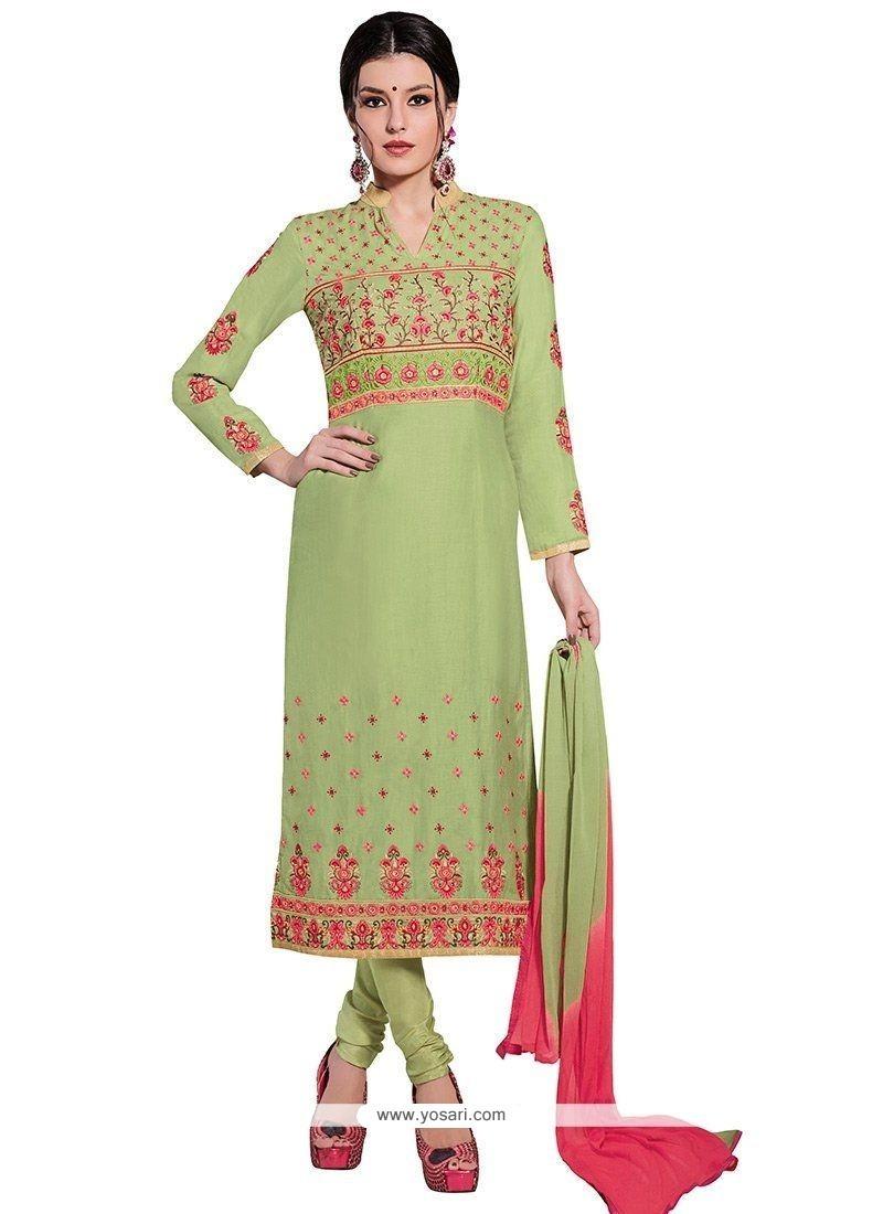 Conspicuous Cotton Green Churidar Designer Suit
