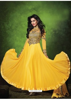 Yellow Chiffon Anarkali Suit