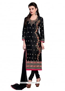 Exceptional Black Embroidered Work Cotton Churidar Designer Suit