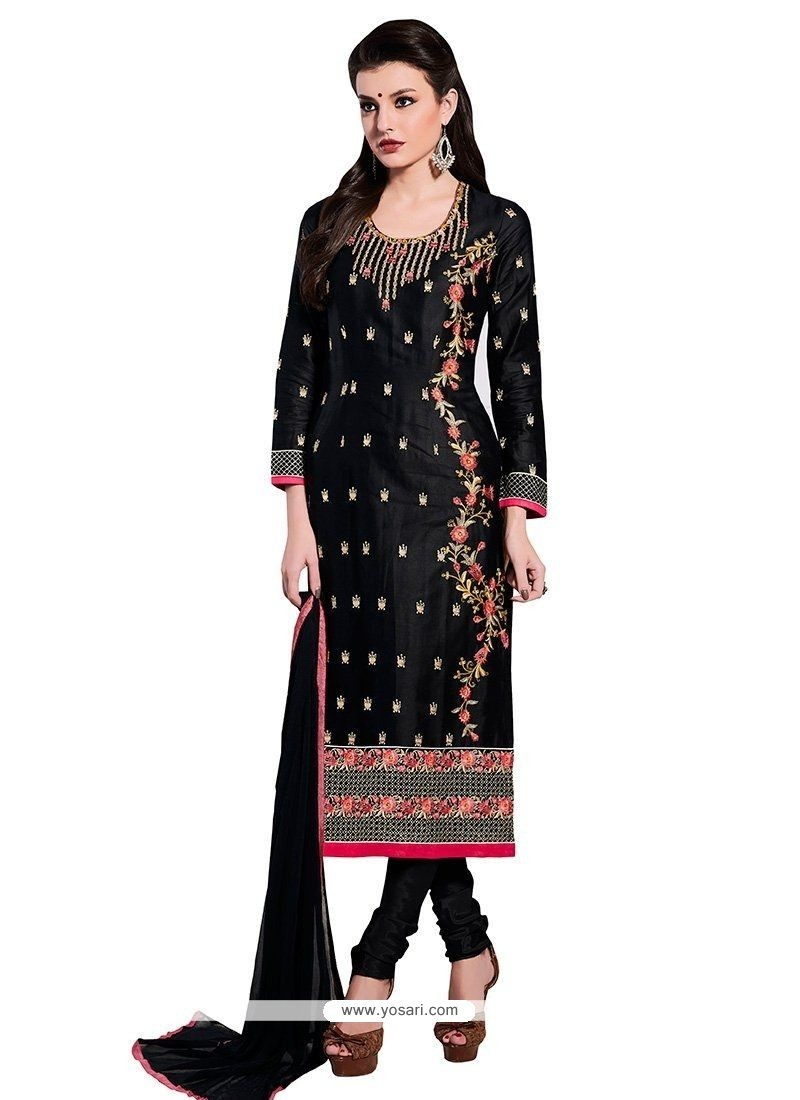 Exceptional Black Embroidered Work Cotton Churidar Designer Suit
