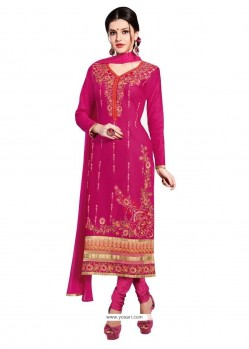 Engrossing Hot Pink Cotton Churidar Designer Suit