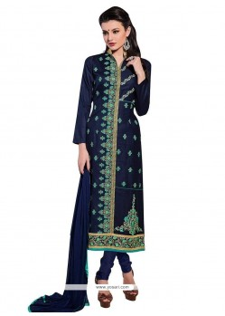 Sterling Cotton Navy Blue Churidar Designer Suit
