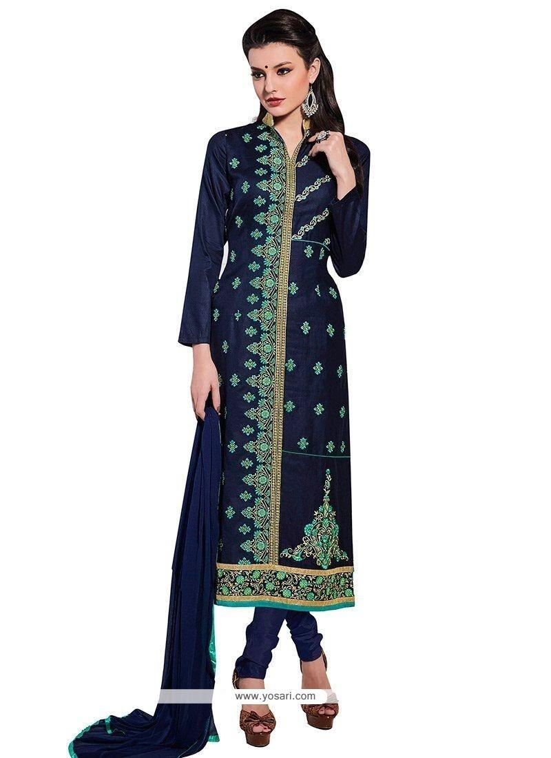 Sterling Cotton Navy Blue Churidar Designer Suit