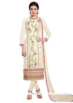 Excellent Resham Work Cream Churidar Designer Suit