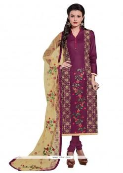 Prominent Cotton Magenta Embroidered Work Churidar Designer Suit