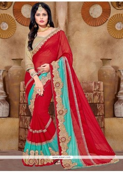 Eye-catchy Lace Work Faux Chiffon Saree