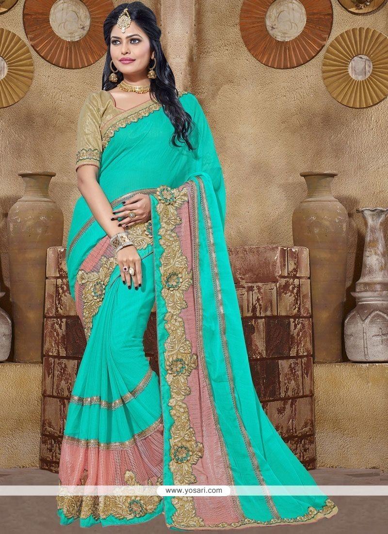 Subtle Sea Green Classic Designer Saree