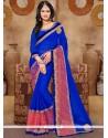 Swanky Embroidered Work Blue Classic Designer Saree