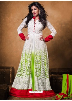White Net Anarkali Suit