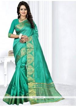 Modest Art Silk Sea Green Weaving Work Traditional Designer Saree
