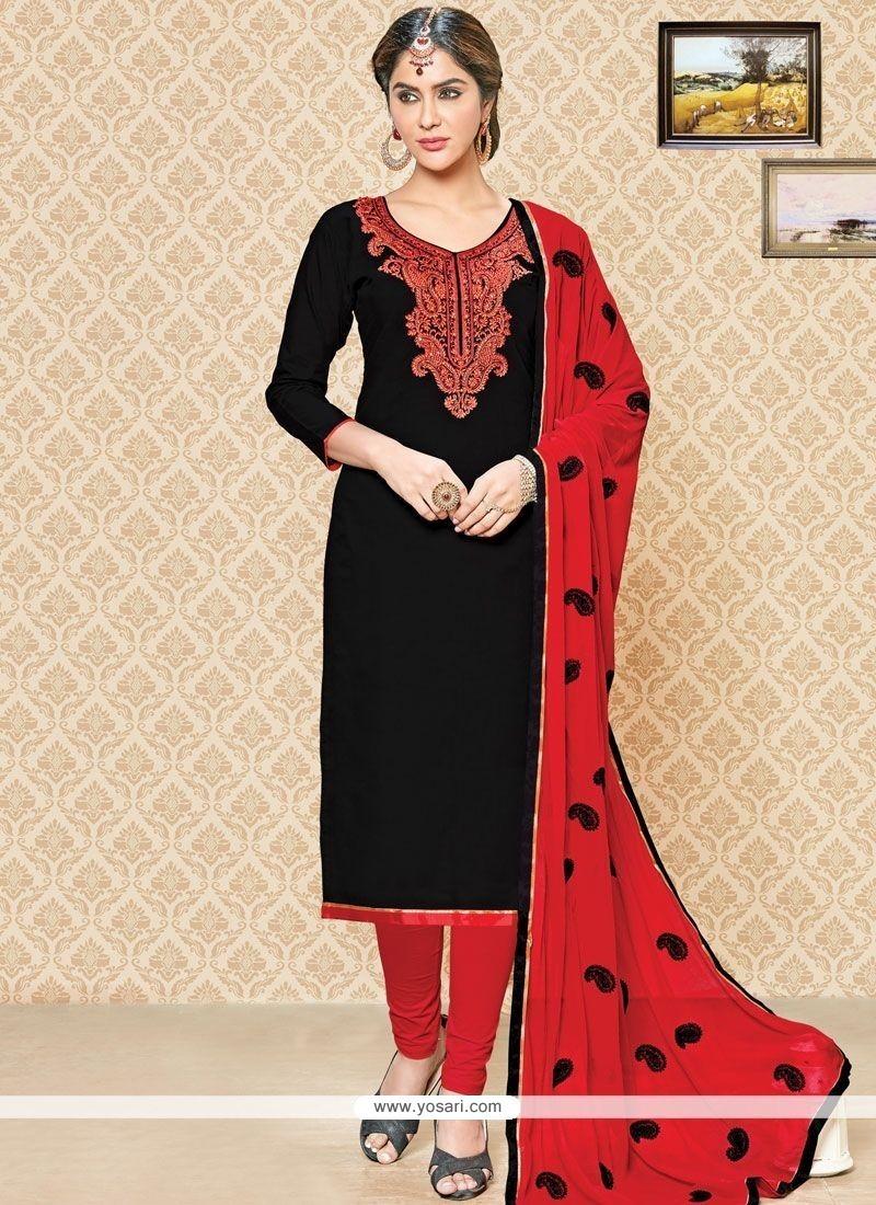 4a69565238 Buy Catchy Black And Red Churidar Suit | Churidar Salwar Suits