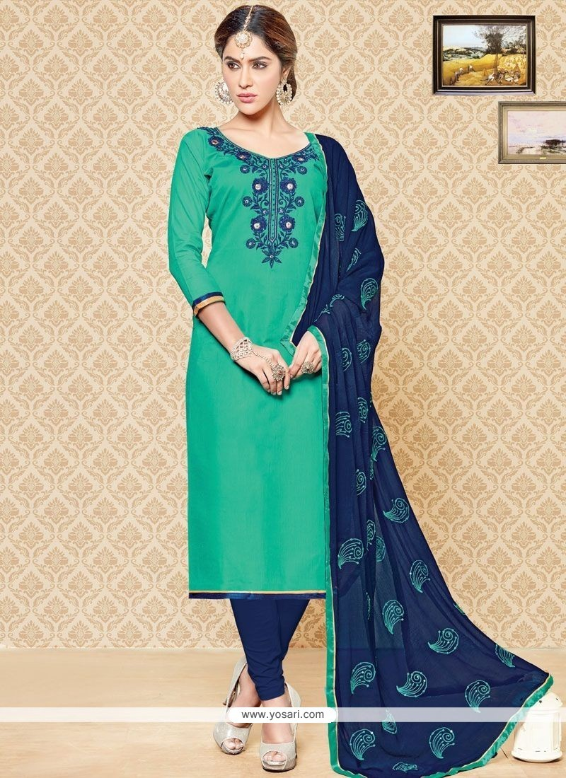 Buy Energetic Navy Blue And Sea Green Churidar Suit | Churidar ...