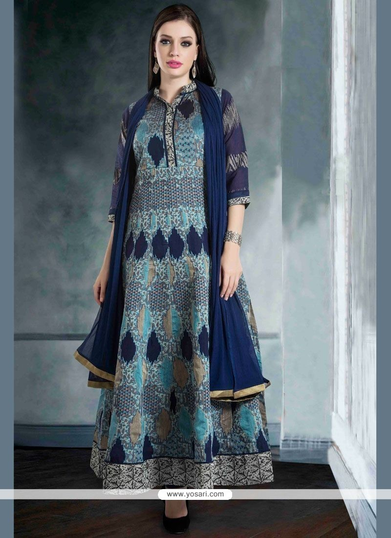 Buy Catchy Chanderi Navy Blue Weaving Work Readymade Suit | Wedding ...