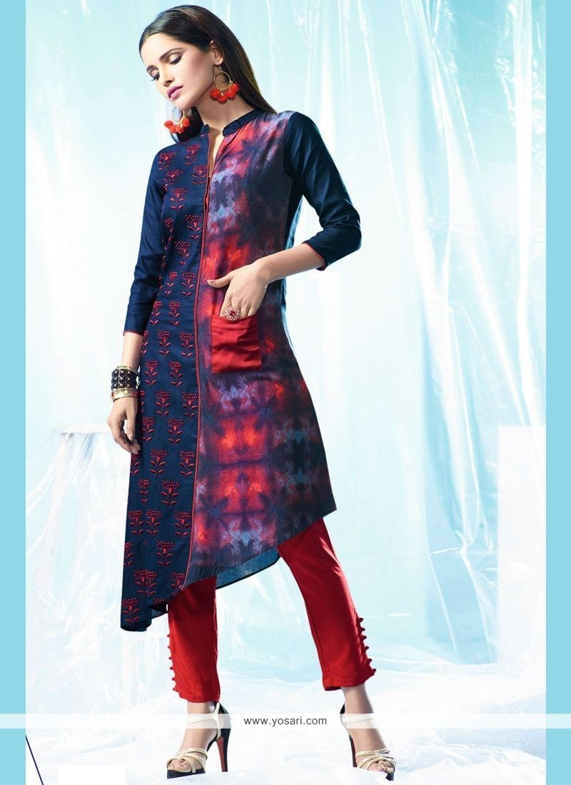 Buy Stupendous Embroidered Work Cotton Designer Kurti | Party Wear Kurtis