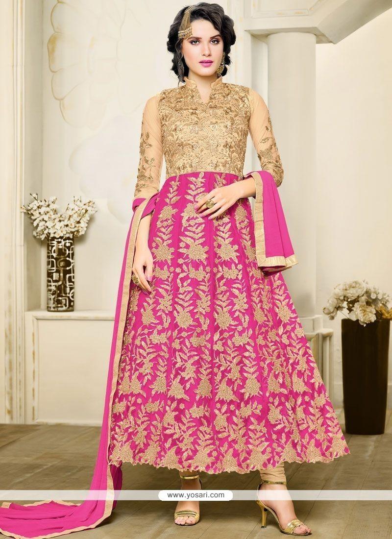 ef9ba62440 Buy Amazing Lace Work Hot Pink Anarkali Salwar Suit | Anarkali Suits
