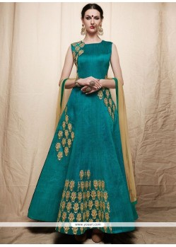 Suave Art Silk Sea Green Embroidered Work Readymade Anarkali Suit