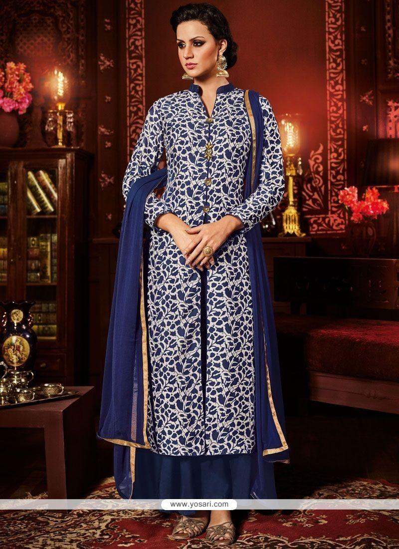 0138c5656721 Buy Modest Lace Work Navy Blue Designer Suit   Designer Salwar Suits