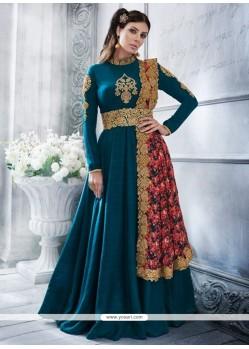 Strange Art Silk Teal Resham Work Floor Length Anarkali Suit