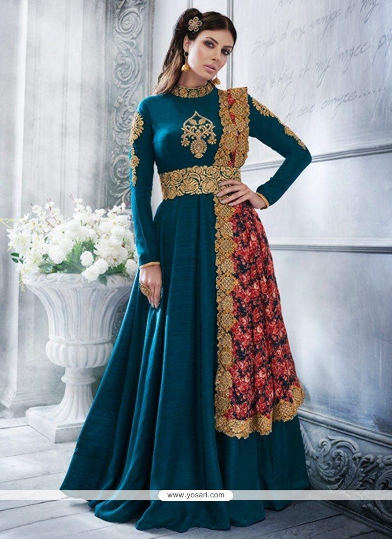 Strange Art Silk Teal Resham Work Floor Length Anarkali Suit